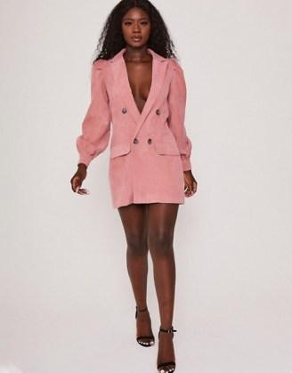Saint Genies corduroy puff sleeve blazer dress in rose ~ pink jacket dresses - flipped