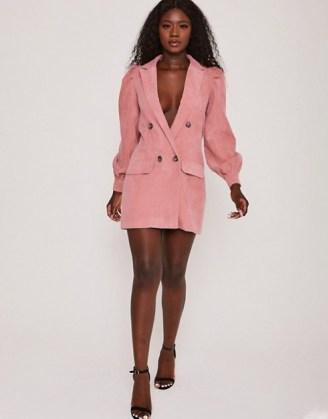 Saint Genies corduroy puff sleeve blazer dress in rose ~ pink jacket dresses