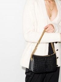 Saint Laurent Elsie crocodile-effect leather shoulder bag | black chain strap handbags