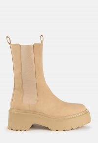 MISSGUIDED sand pull on chunky ankle boots ~ neutral thick sole boots