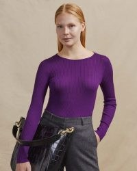 JIGSAW SAUNTON SILK COTTON CREW JUMPER PRINCE PURPLE ~ ribbed crew neck top