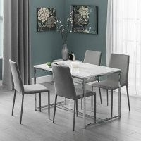 Scala Dining Table & 4 Jazz Grey Chairs