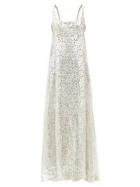 MARC JACOBS RUNWAY Scoop-neck cape-back metallic lace gown ~ silver floral gowns ~ luxe event wear ~ evening glamour