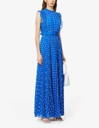 Kyle Richards blue spot print dress, SELF-PORTRAIT Polka dot-print pleated crepe maxi dress, on Instagram, 4 November 2020 | reality star dresses | celebrity social media fashion