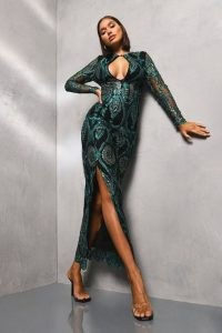 boohoo Sequin Damask Plunge Maxi Dress in Teal / plunging party wear / sequinned side split dresses