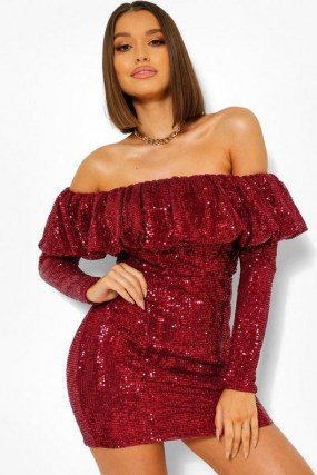 boohoo Sequin Frill Off The Shoulder Mini Dress in Berry | red sequinned party dresses | glamorous going out fashion - flipped