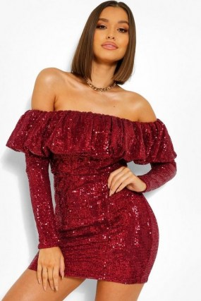 boohoo Sequin Frill Off The Shoulder Mini Dress in Berry | red sequinned party dresses | glamorous going out fashion
