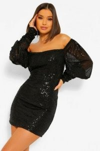 boohoo Sequin Puff Sleeve Square Neck Mini Dress | LBD