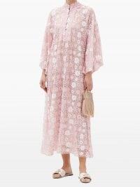 LA VIE STYLE HOUSE Sequinned mesh kaftan ~ pink floral kaftans