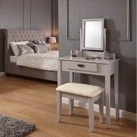 Shaker Grey Dressing Table Set – stylish dressing table, adjustable mirror and matching padded stool