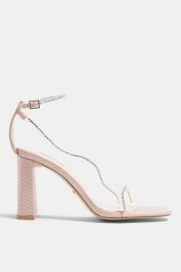 TOPSHOP SHEA Pink Diamante Block Heels ~ barely there party sandals ~ going out shoes