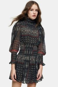 Topshop Shirred Paisley Print Mini Dress | volume sleeve dresses