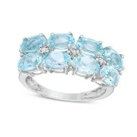 Sideways Oval Blue Topaz and Diamond Accent Double Row Ring in Sterling Silver