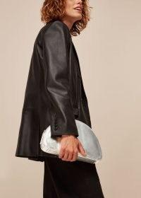 WHISTLES EASTON HALF MOON CLUTCH / metallic silver bags