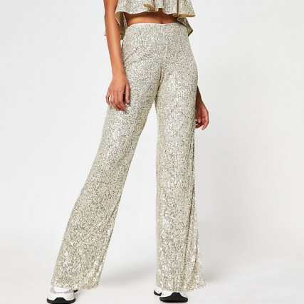 RIVER ISLAND Silver fitted sequin trousers / sequinned evening fashion - flipped