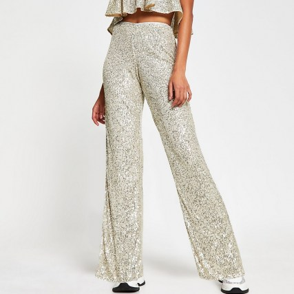 RIVER ISLAND Silver fitted sequin trousers / sequinned evening fashion