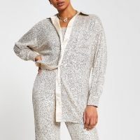 RIVER ISLAND Silver long sleeve sequin shirt / sequinned shirts