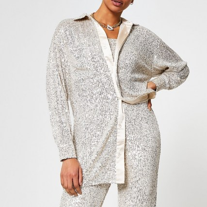 RIVER ISLAND Silver long sleeve sequin shirt / sequinned shirts - flipped