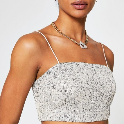 RIVER ISLAND Silver sequin bralet top / strappy evening crop tops / sequinned bralets - flipped