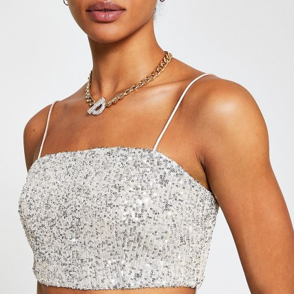 RIVER ISLAND Silver sequin bralet top / strappy evening crop tops / sequinned bralets