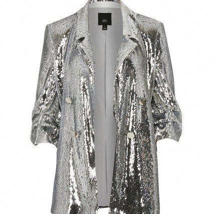 RIVER ISLAND Silver sequin button detail blazer | sparkling sequinned blazers | glamorous party jackets - flipped