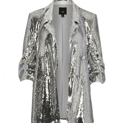 RIVER ISLAND Silver sequin button detail blazer | sparkling sequinned blazers | glamorous party jackets