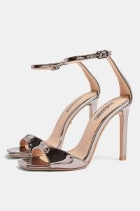 TOPSHOP SILVY Pewter Skinny Two Part Heel Sandals ~ shiny ankle strap party heels