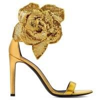 Giuseppe Zanotti Siuxsie laminated golden leather sandals ~ rose embellished heels