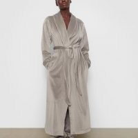 VELOUR LONG ROBE – smoke color- soft and luxurious – Skims