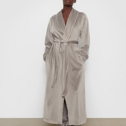 VELOUR LONG ROBE – smoke color- soft and luxurious – Skims - flipped