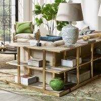 Small Montfort Oak Wood and Brushed Metal Shelves