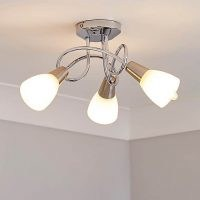 Smithson 3 Light Chrome Ceiling Fitting – features cream coloured glass shades and a chrome finish