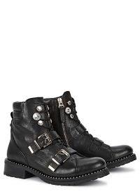 SOPHIA WEBSTER Ziggy 40 black leather biker boots – buckle detail boots
