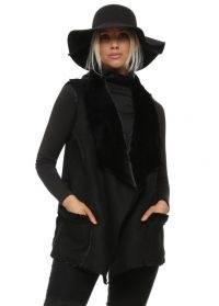SOPHYLINE Black Faux Shearling Gilet ~ black fur trimmed gilets