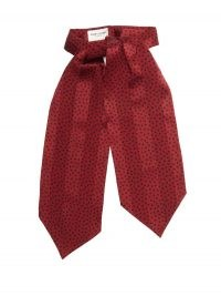 SAINT LAURENT Spot-print jacquard-striped silk lavallière / red polka dot pussy bow ties