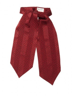 SAINT LAURENT Spot-print jacquard-striped silk lavallière / red polka dot pussy bow ties - flipped