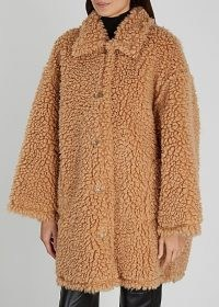 STAND STUDIO Jacey camel faux shearling coat ~ light brown textured winter coats