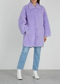STAND STUDIO Jacey lilac faux shearling coat ~ light purple coats ~ winter outerwear