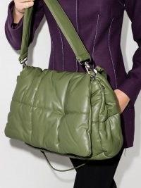 STAND STUDIO Wanda padded shoulder bag in light army green / chunky handbags