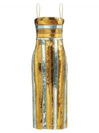 GALVAN Stargaze sequinned striped midi dress / shimmering metallic evening dresses / glamorous partywear