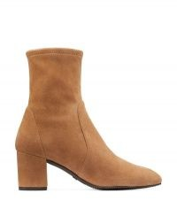 Stuart Weitzman YULIANA 60 SUEDE STRETCH BOOTS CAMEL BROWN