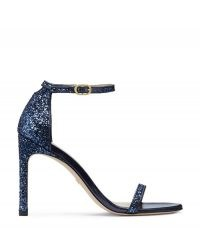Stuart Weitzman NUDISTSONG GLITTER STILETTO SANDALS NICE BLUE ~ glittering party sandals ~ barely there ankle strap event shoes ~ evening heels