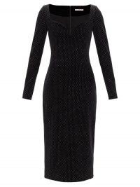 CHRISTOPHER KANE Sweetheart-neckline glittered velvet dress / glittering lbd