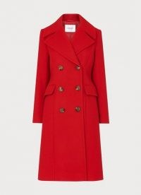 L.K. BENNETT SYBLE RED DOUBLE-BREASTED WOOL-BLEND COAT – bright pocket detail winter coats