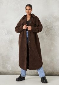 MISSGUIDED tall chocolate long borg shacket coat ~ casual winter coats ~ brown textured fabrics