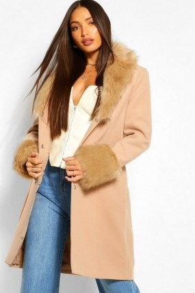 boohoo Tall Faux Fur Collar And Cuff Coat / camel brown fur trimmed winter coats - flipped