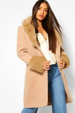 boohoo Tall Faux Fur Collar And Cuff Coat / camel brown fur trimmed winter coats