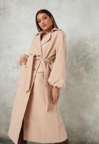 MISSGUIDED tan balloon sleeve formal coat ~ tie waist coats