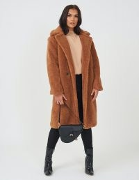 FOREVER UNIQUE Tan Teddy Coat / brown faux fur winter coats