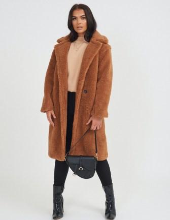 FOREVER UNIQUE Tan Teddy Coat / brown faux fur winter coats - flipped